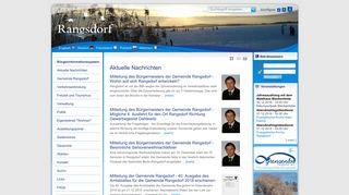 Screenshot: Homepage Gemeinde Rangsdorf