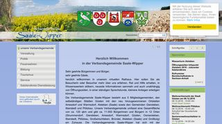 Screenshot: Homepage Verbandsgemeinde  Saale-Wipper