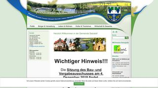 Screenshot: Homepage Gemeinde Salzatal