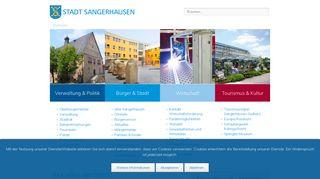Screenshot: Homepage Stadt Sangerhausen