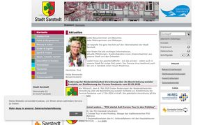 Screenshot: Homepage Stadt Sarstedt