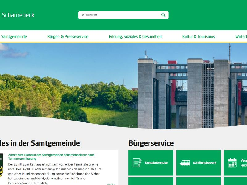Screenshot: Homepage Samtgemeinde Scharnebeck
