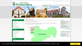 Screenshot: Homepage Gemeinde Schönwölkau
