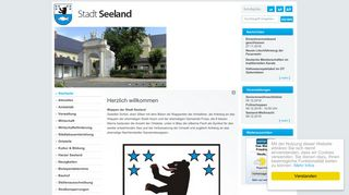 Screenshot: Homepage Stadt Seeland