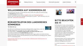 Screenshot: Homepage Stadt Sömmerda