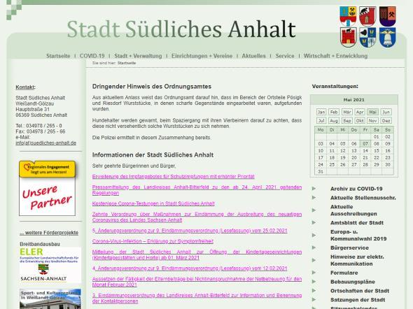 Screenshot: Homepage Stadt Südliches Anhalt