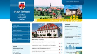 Screenshot: Homepage Stadt Trebsen