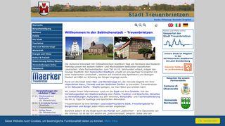 Screenshot: Homepage Stadt Treuenbrietzen