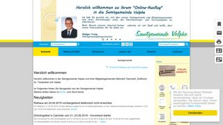Screenshot: Homepage Samtgemeinde  Velpke