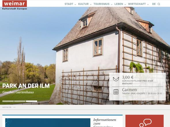 Screenshot: Homepage Stadt Weimar