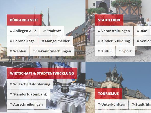 Screenshot: Homepage Stadt Wernigerode