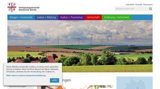 Screenshot: Homepage Verbandsgemeinde Westliche Börde