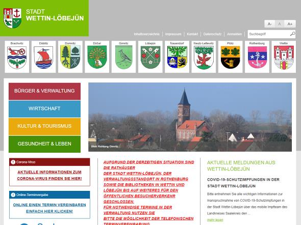 Screenshot: Homepage Stadt Wettin-Löbejün