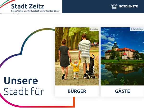 Screenshot: Homepage Stadt Zeitz