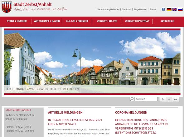 Screenshot: Homepage Stadt Zerbst