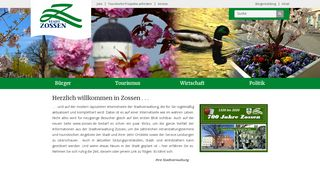 Screenshot: Homepage Stadt Zossen