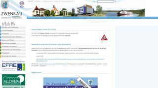 Screenshot: Homepage Stadt Zwenkau